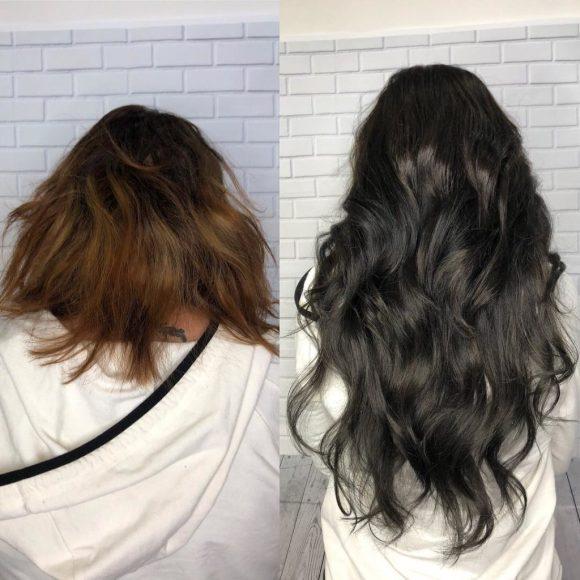 short hir with clip hair extensions siren stylist VA beach