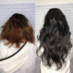 short hair with clip in extensions