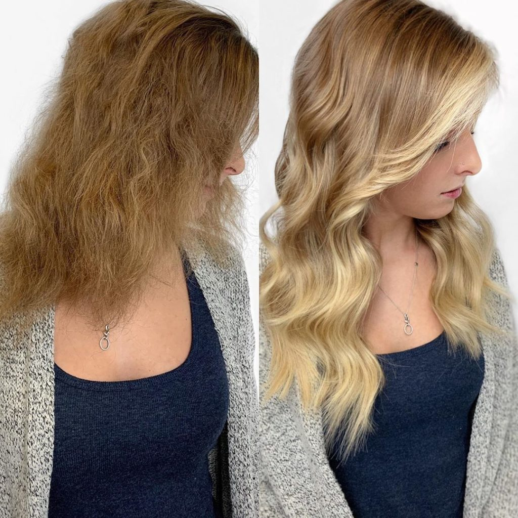 16 in ombre fusion extensions with added highlights