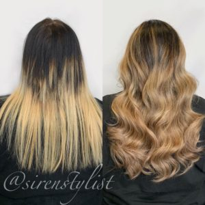 hair color correction plus extensions for fullness