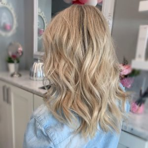13 in blonde hairtalk tape in hair extensions