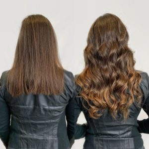 highlights done with tape in hair extensions by Siren Stylist VA Beach
