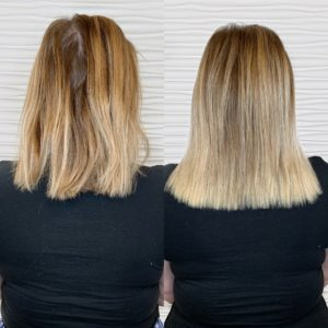 before after halo extensions siren stylist VA beach