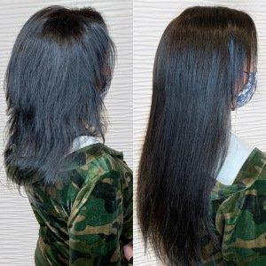 hand-tied-weft-extensions-brunette-side-VA-Beach-Siren-Stylist
