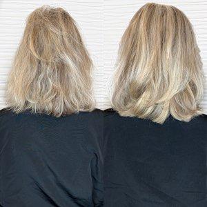 short-blonde-Hairtalk-hand-tied-wefts-salon-VA-Beach
